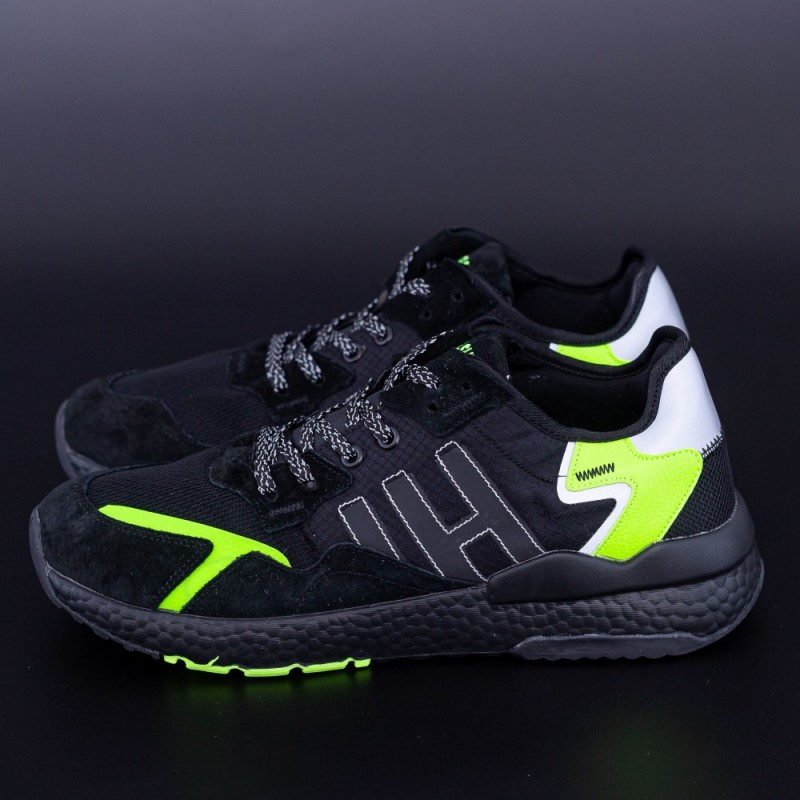 Pantofi Sport Barbati D-1-5 Negru-Verde DCF68