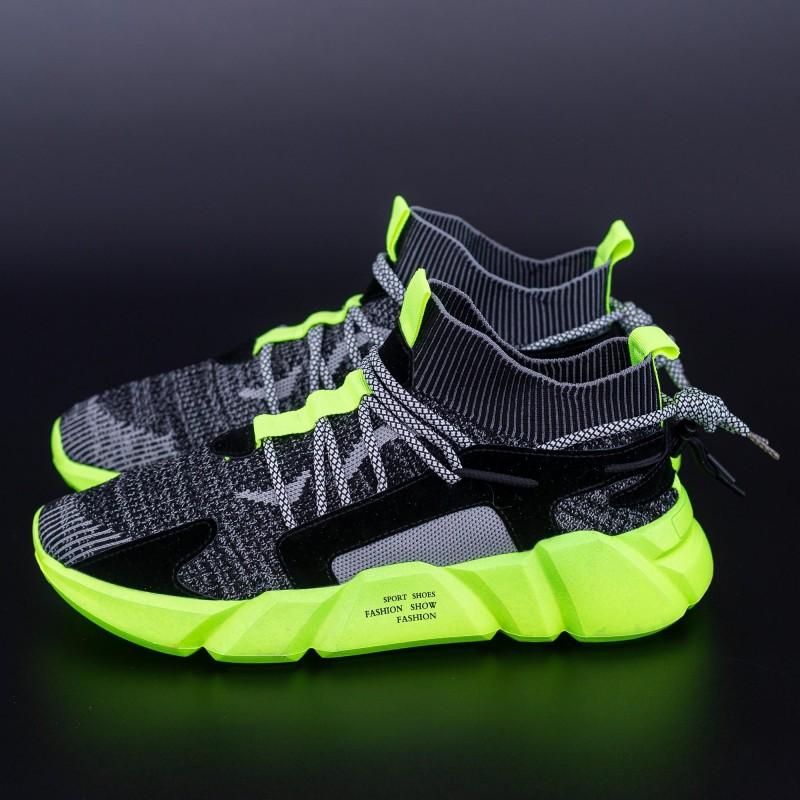 Pantofi Sport Barbati H23 Negru-Verde DCF68