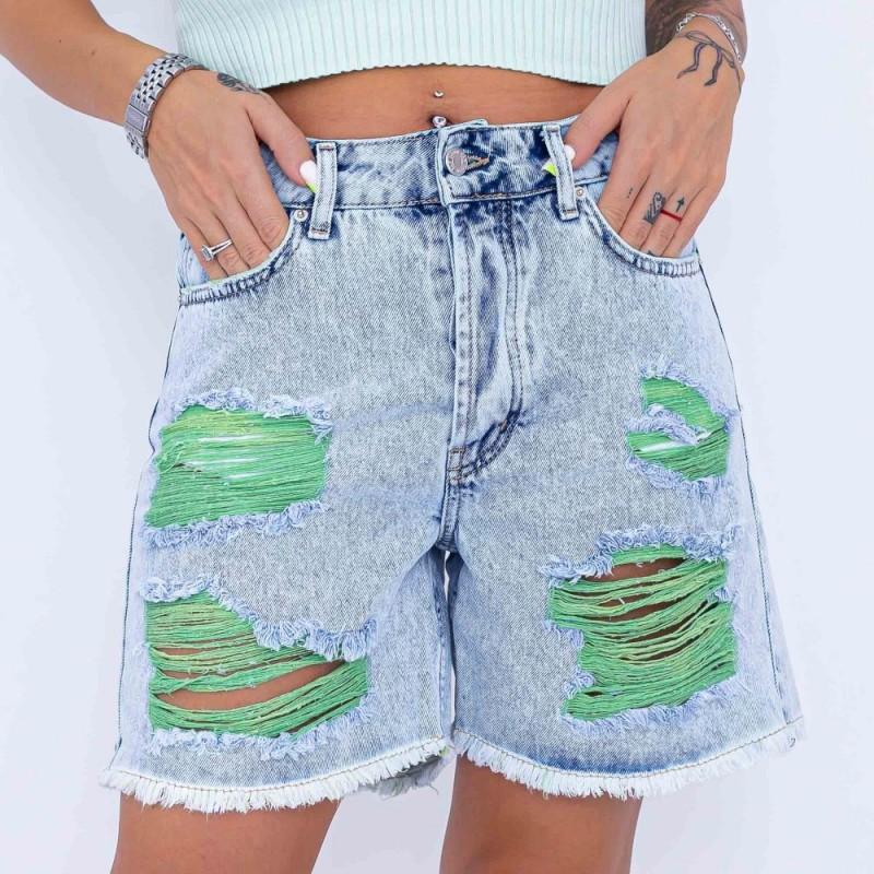 Blugi Scurti Dama 3062-1 Albastru-Verde Fashion