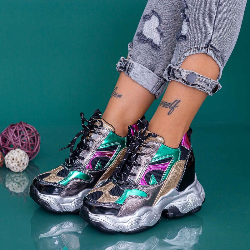 Pantofi Sport Dama cu Platforma WLGH67 Multicolor Mei