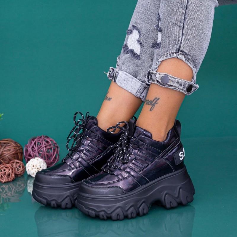 Pantofi Sport Dama cu Platforma WLGH68 Negru Mei
