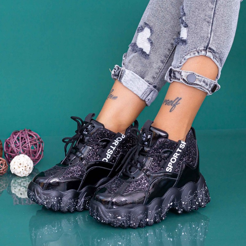 Pantofi Sport Dama cu Platforma WLGH73 Negru Mei
