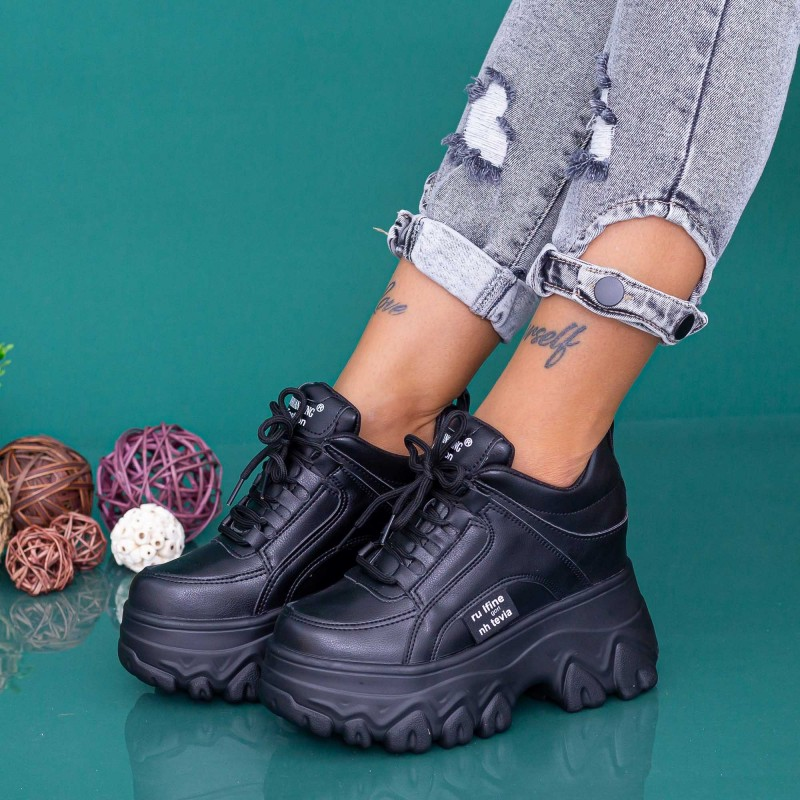 Pantofi Sport Dama cu Platforma WLGH75 Negru Mei