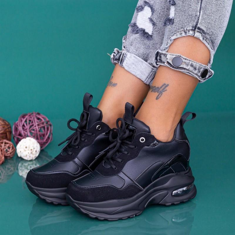 Pantofi Sport Dama cu Platforma YKQ238 Negru Mei