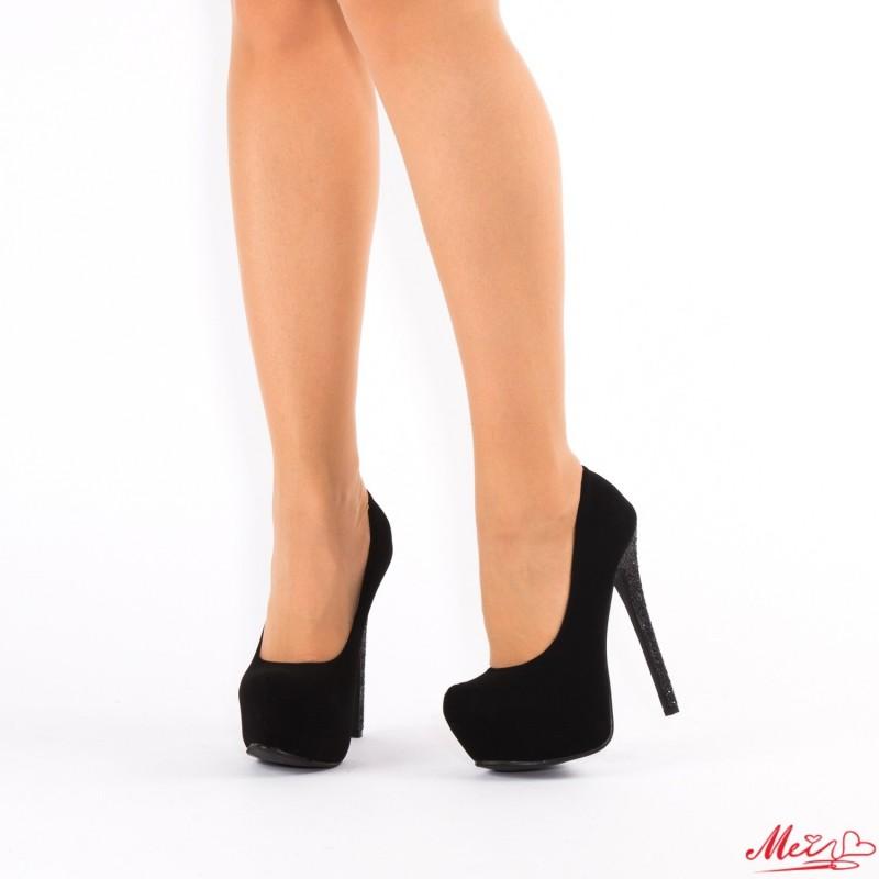 Pantofi cu Toc si Platforma XKK73 Black Mei