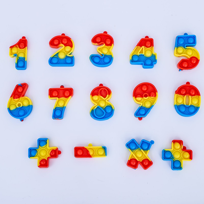 Jucarie POP IT!, din silicon, Rosu,Albastru,Galben,Cifre, GALA21-123  Galasun