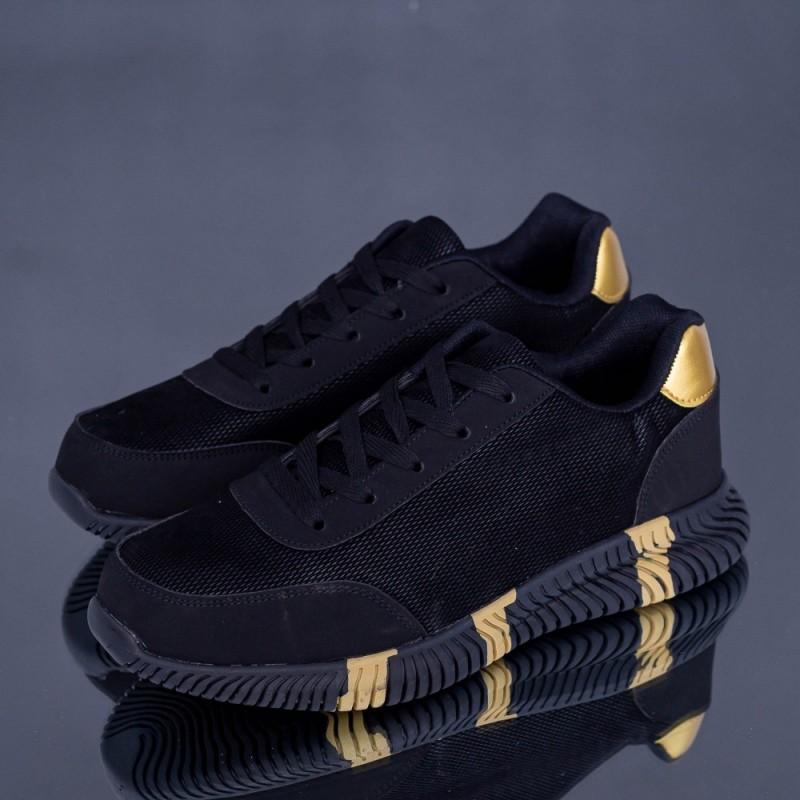 Pantofi Sport Barbati A19 Negru-Auriu Erin