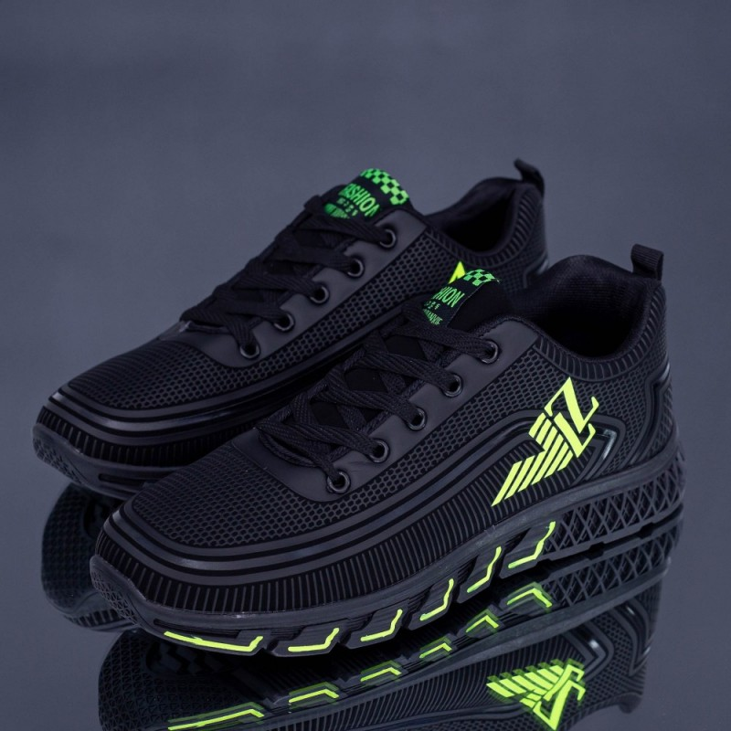Pantofi Sport Barbati XX30-10 Negru-Verde Fashion