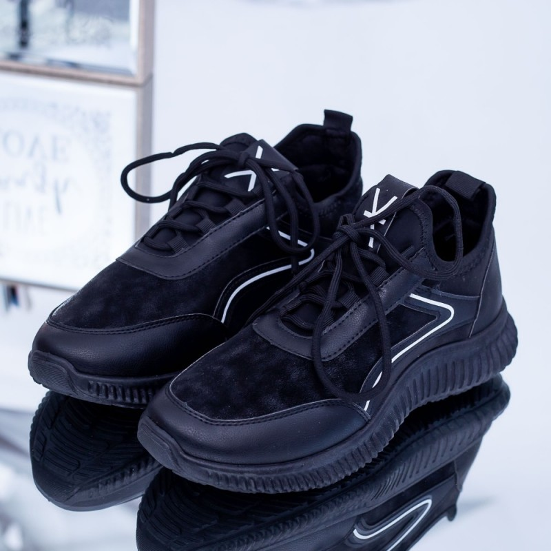 Pantofi Sport Barbati 108 Negru-Alb Fashion