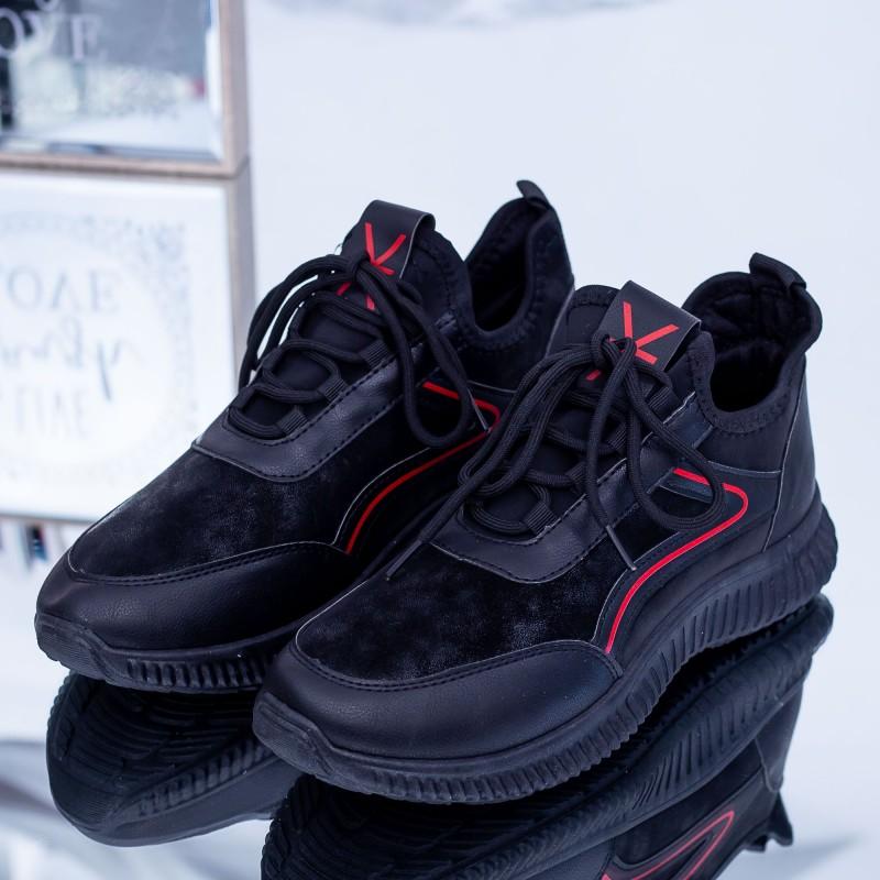 Pantofi Sport Barbati 108 Negru-Rosu Fashion
