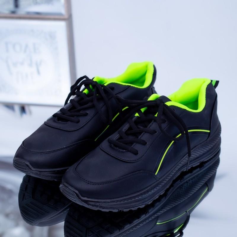 Pantofi Sport Barbati C23 Negru-Verde Fashion