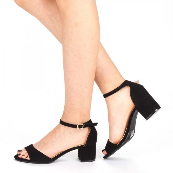 Sandale Dama cu Toc QZL218A Black Mei