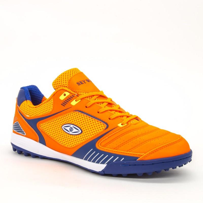 Ghete Fotbal Baieti BX8740-2 Orange-Blue Sky Wing