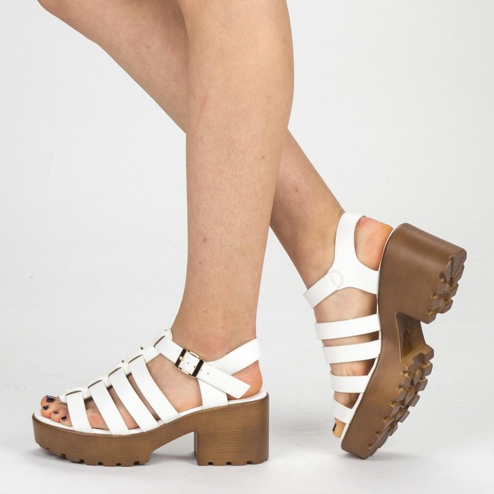 Sandale Dama cu Toc si Platforma WH16 White Mei