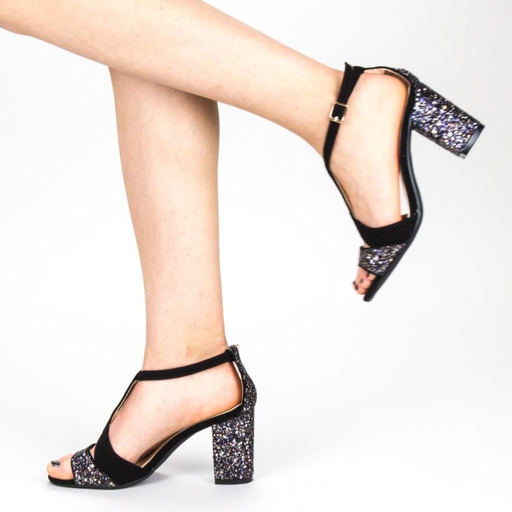 Sandale Dama cu Toc QZL216A Gold Mei