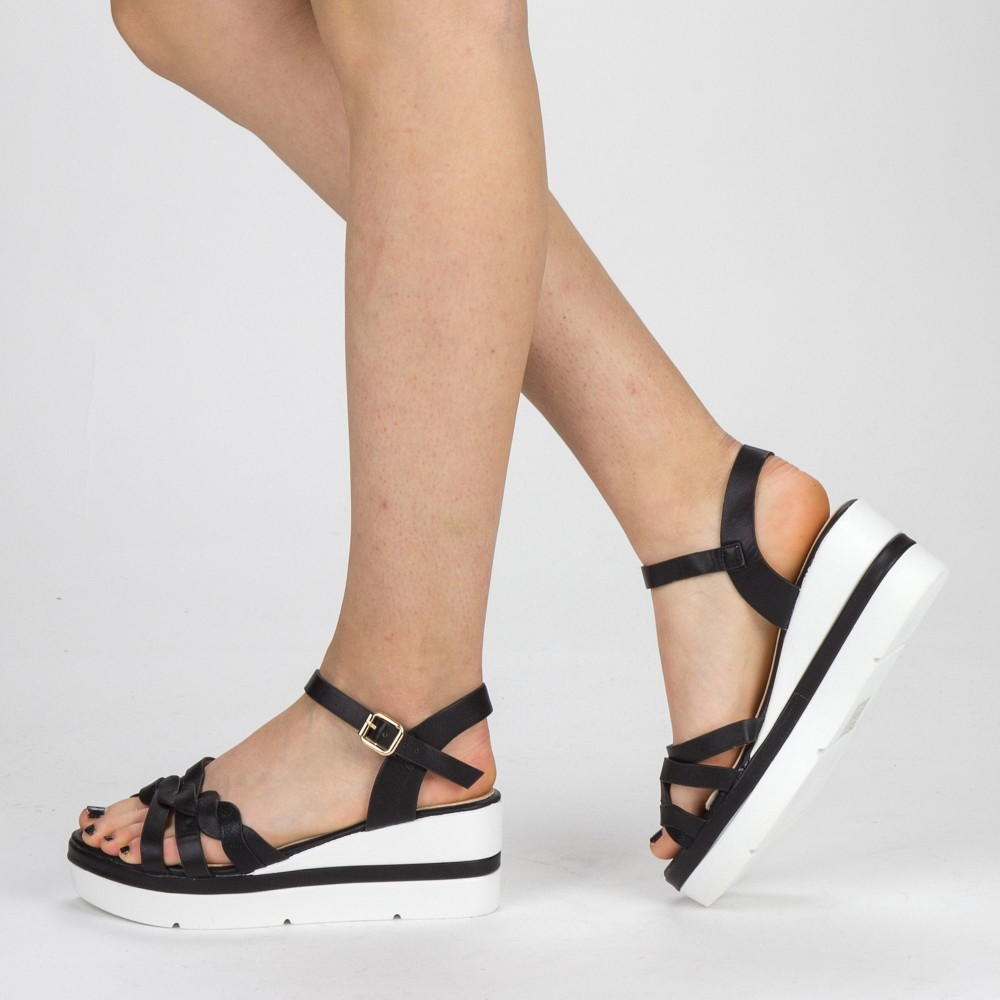 Sandale Dama cu Toc si Platforma LM272 Black Mei
