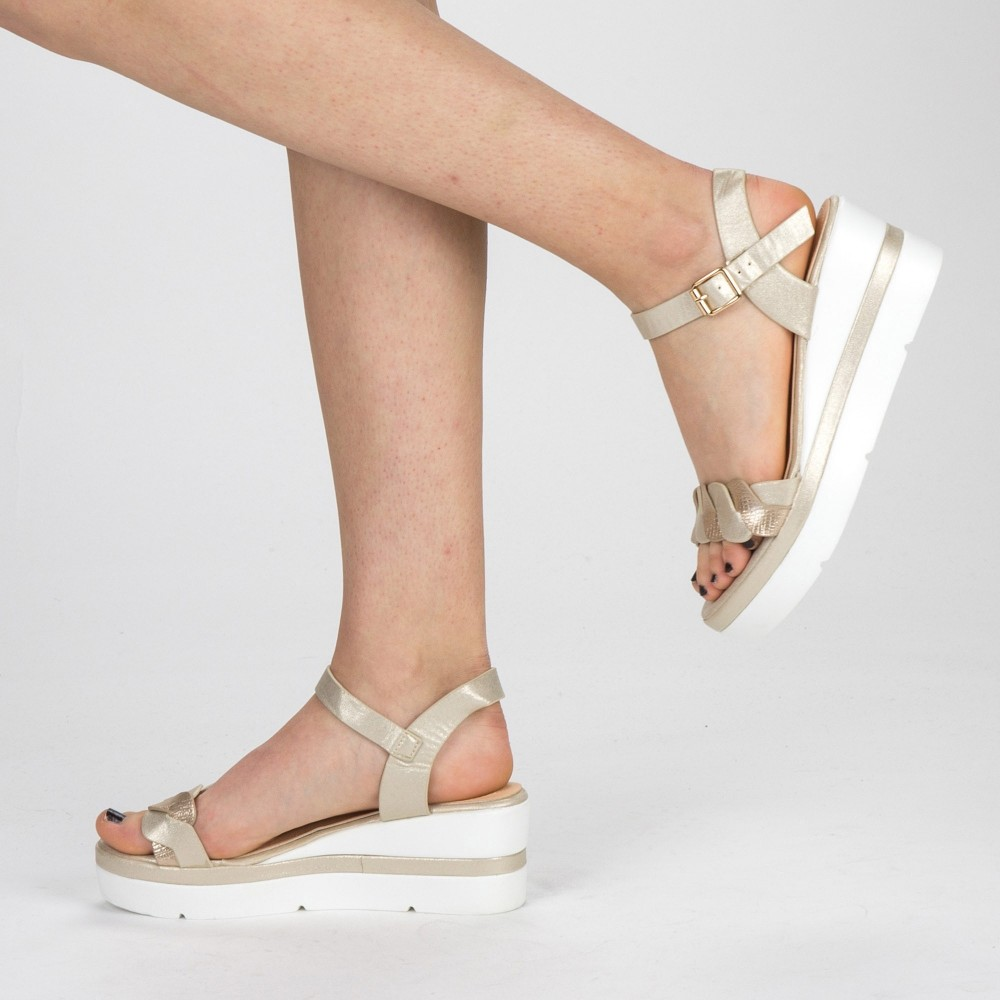 Sandale Dama cu Toc si Platforma LM270 Gold Mei