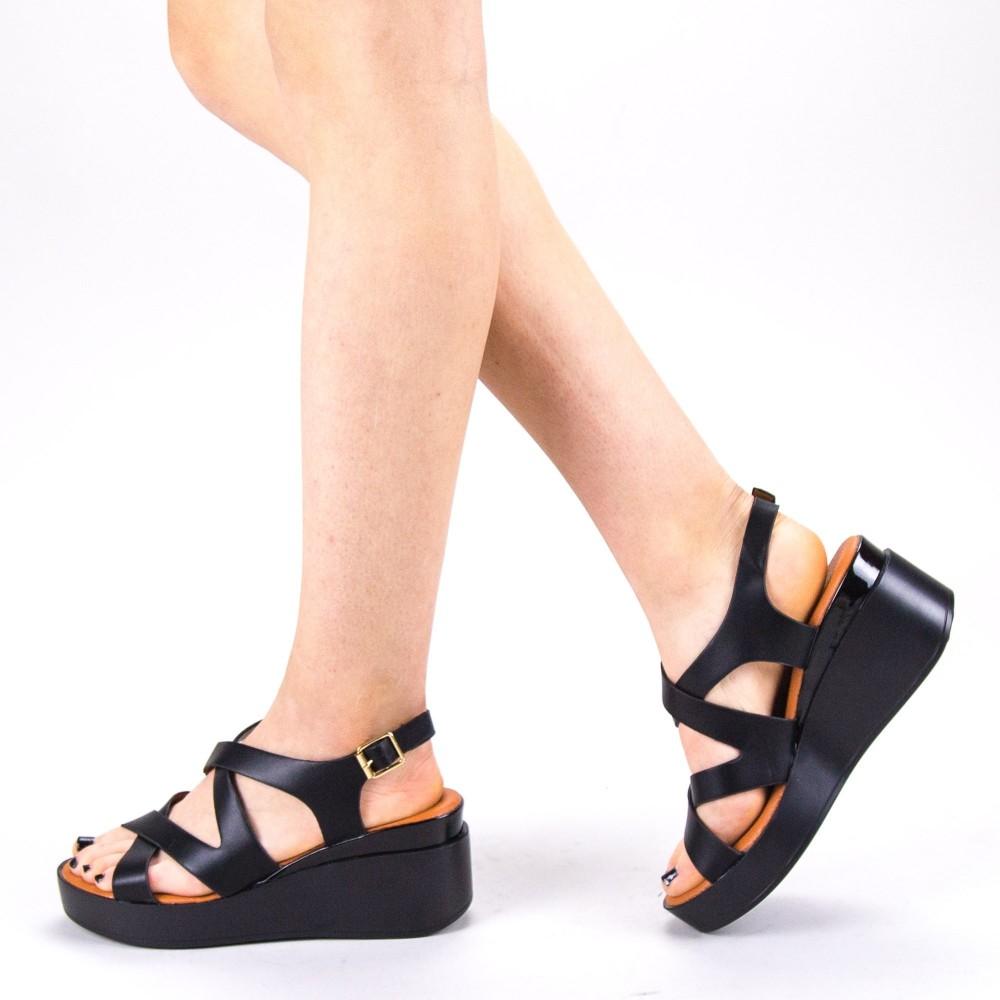 Sandale Dama cu Toc si Platforma QZL225 Black Mei
