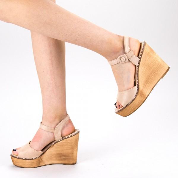 Sandale Dama cu Toc si Platforma WT62 SD Beige Mei
