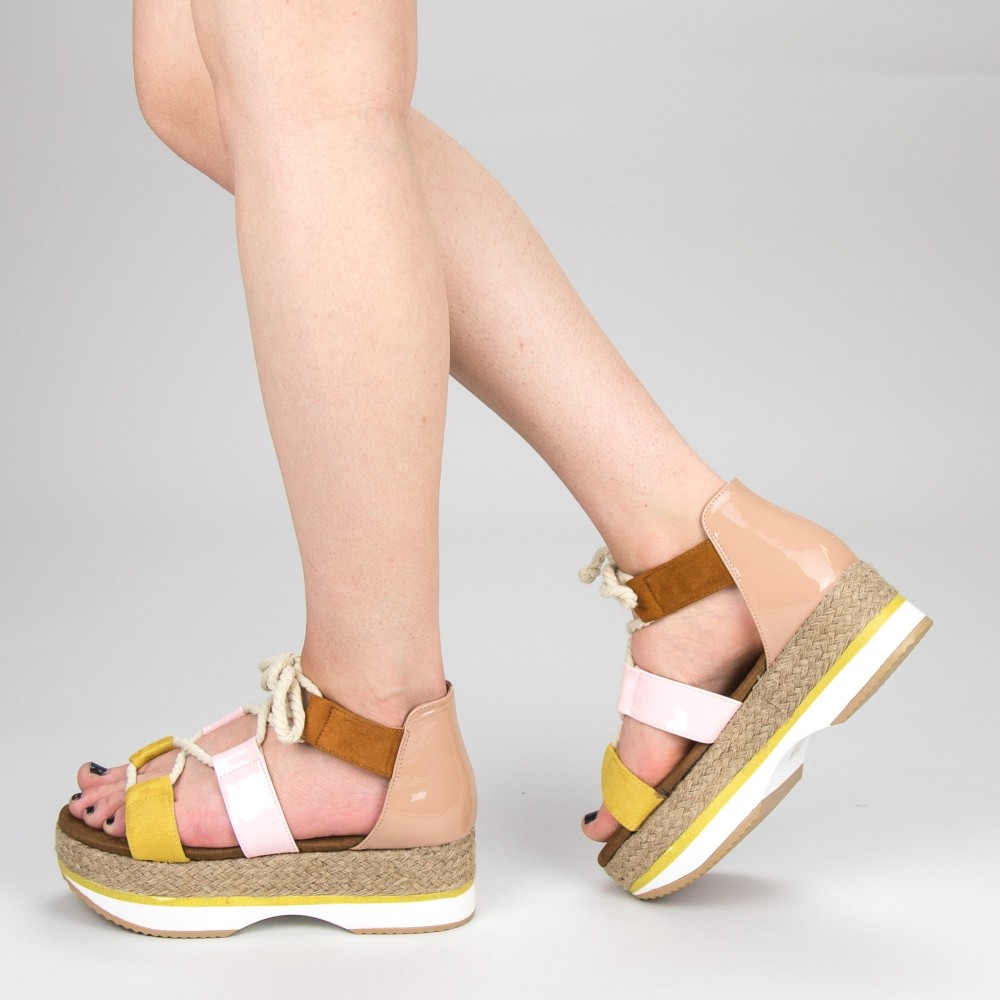 Sandale Dama cu Toc si Platforma GZXY2 Yellow Mei
