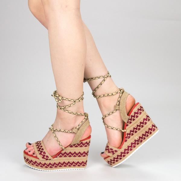 Sandale Dama cu Toc si Platforma FS8 White Mei