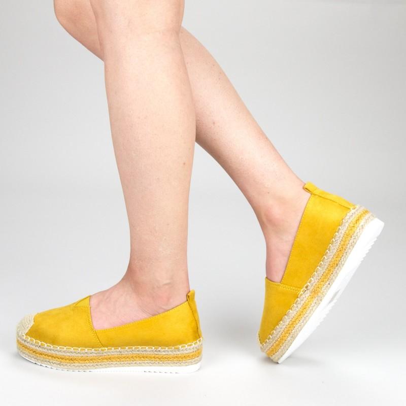 Pantofi Casual Dama cu Platforma FS7 Yellow Mei