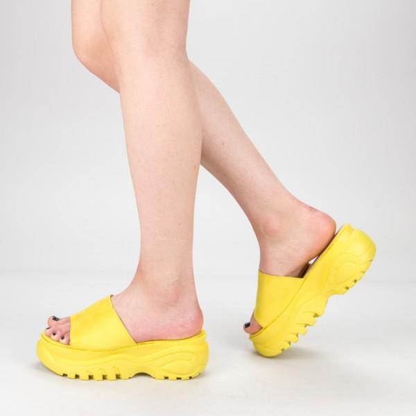Papuci Dama cu Platforma G175 Yellow Mulanka