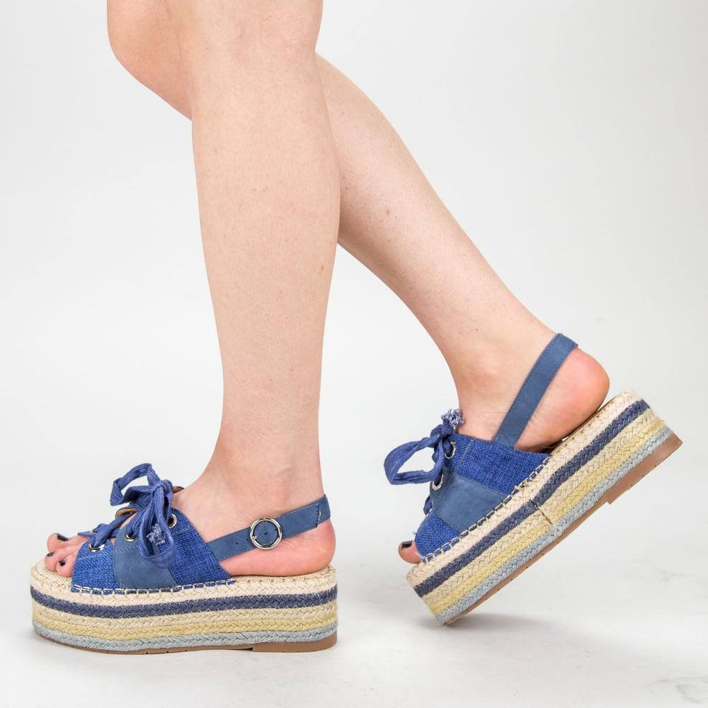 Sandale Dama cu Platforma AB25-8 Blue Malien