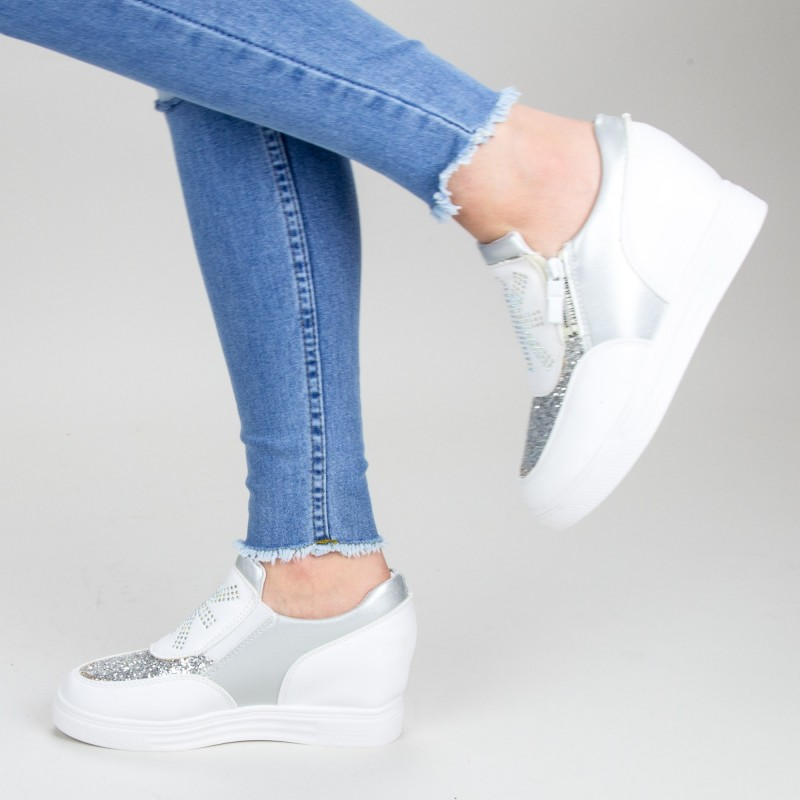 Pantofi Sport Dama cu Platforma 616 PSDP White Sport Fashion