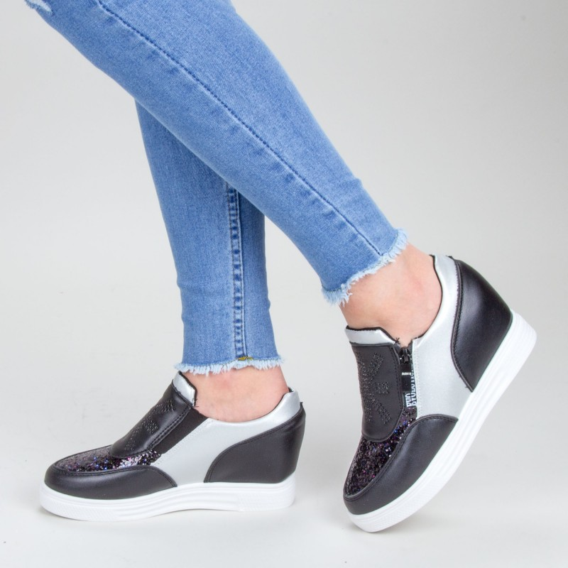 Pantofi Sport Dama cu Platforma 616 PSDP Black Sport Fashion