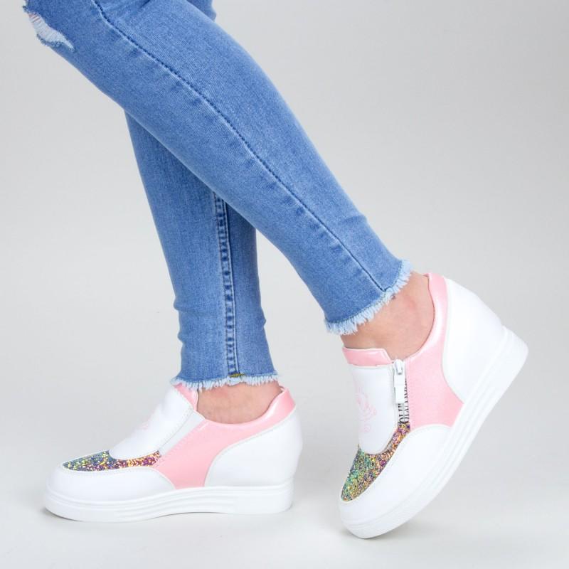 Pantofi Sport Dama cu Platforma 615 PSDP Pink Sport Fashion