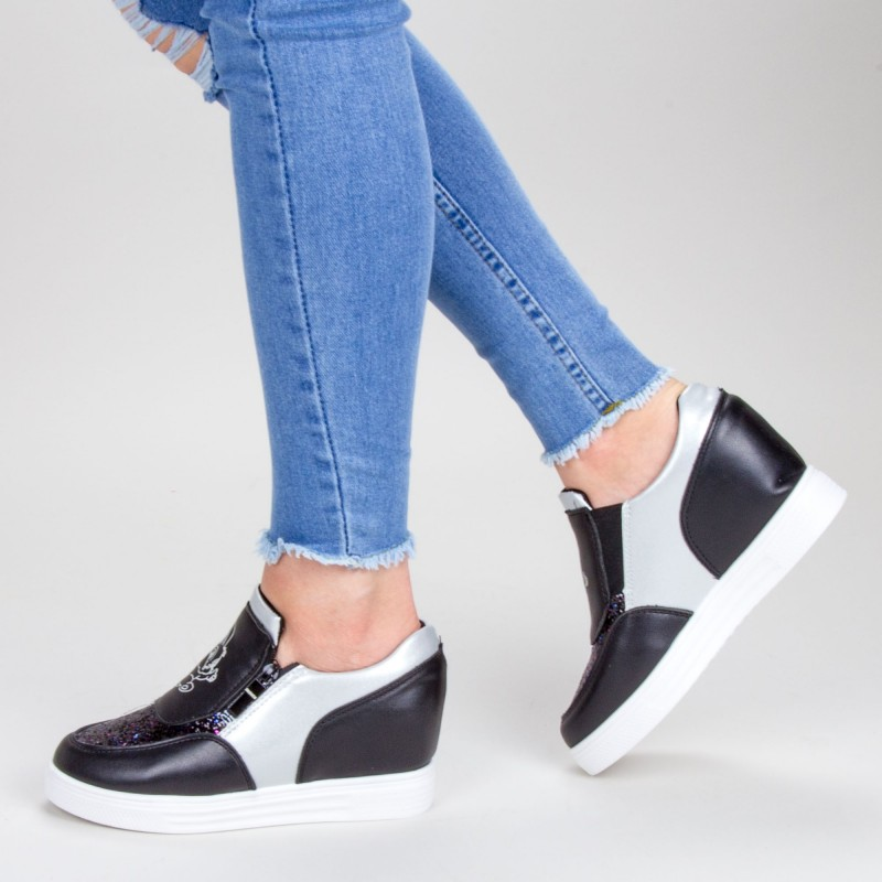 Pantofi Sport Dama cu Platforma 615 PSDP Black Sport Fashion