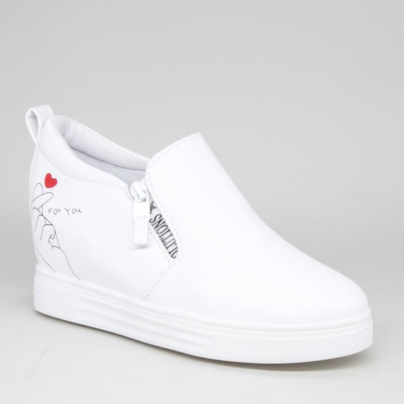 Pantofi Sport Dama cu Platforma 605 PSDP White Sport Fashion