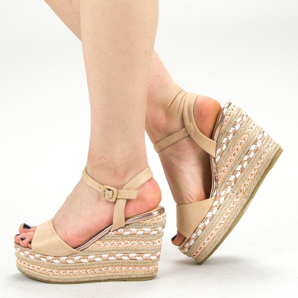 Sandale Dama cu Platforma YBS22 Beige Mei