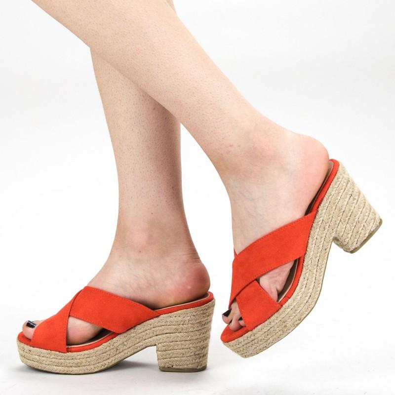 Papuci Dama cu Toc FD31 Orange Mei