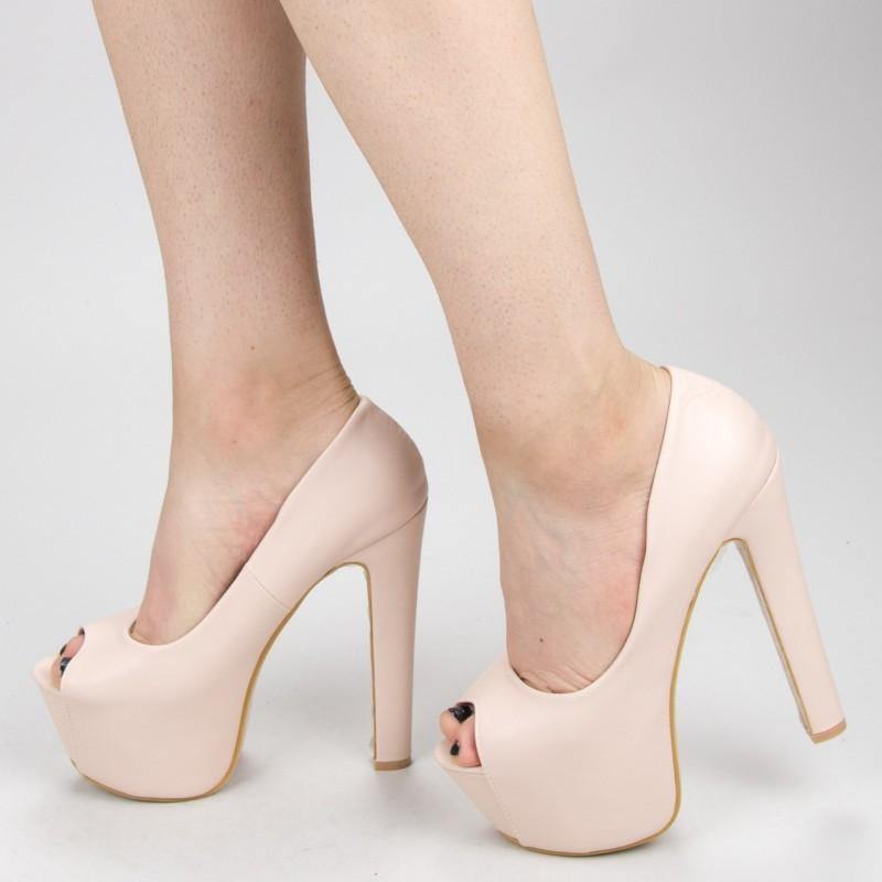 Sandale Dama cu Toc si Platforma HLX71 Beige Mei