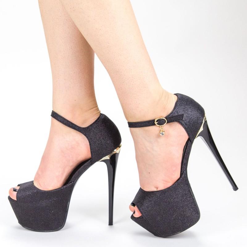 Sandale Dama cu Toc si Platforma HLX75A Black Mei