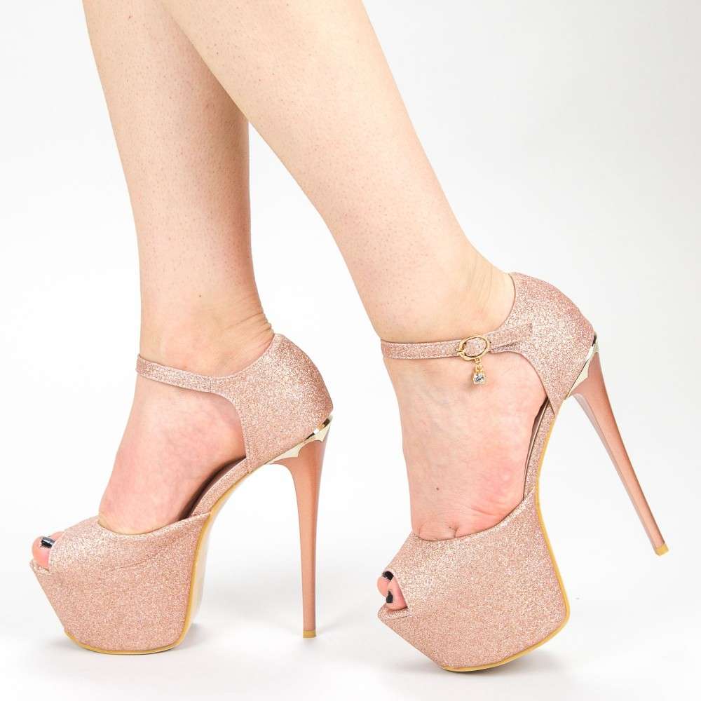 Sandale Dama cu Toc si Platforma HLX75A Champagne Mei