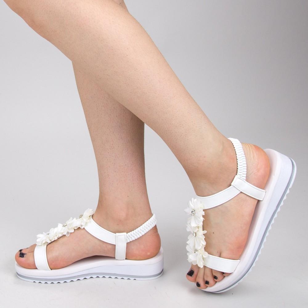 Sandale Dama cu Platforma WS150 White Mei