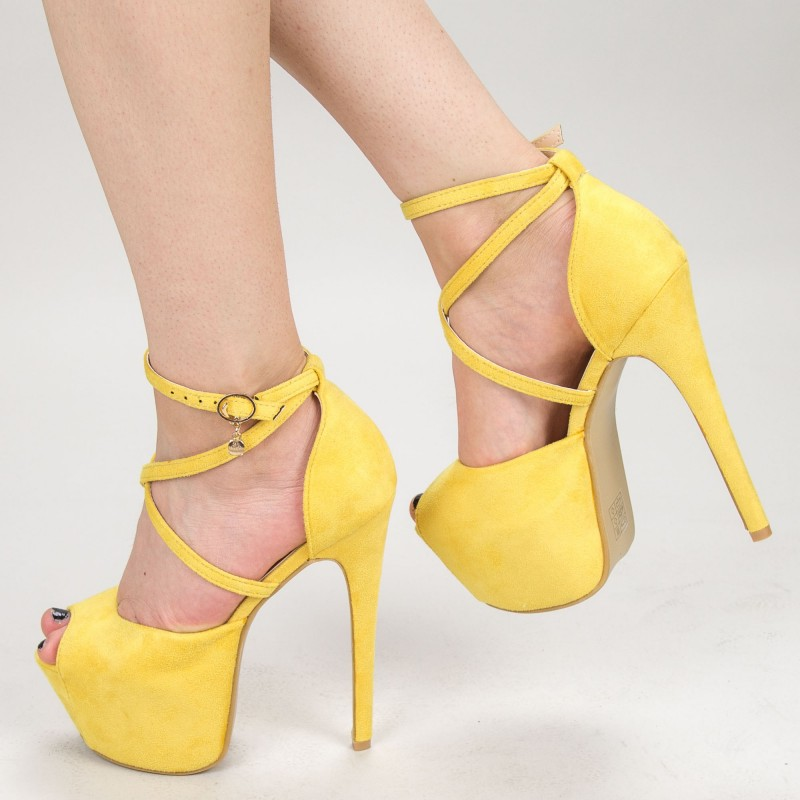 Sandale Dama cu Toc si Platforma HLX78 Yellow Mei