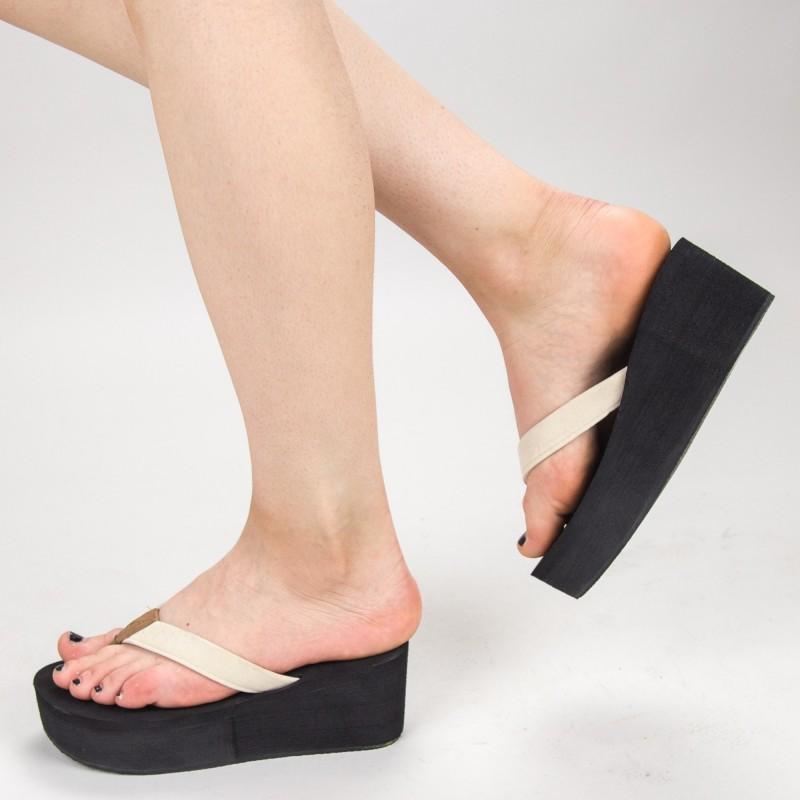 Papuci Dama cu Platforma NX1 White Mei