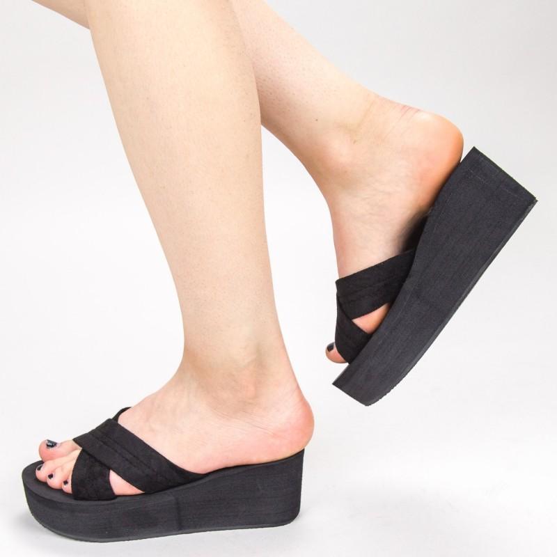 Papuci Dama cu Platforma NX3 Black Mei