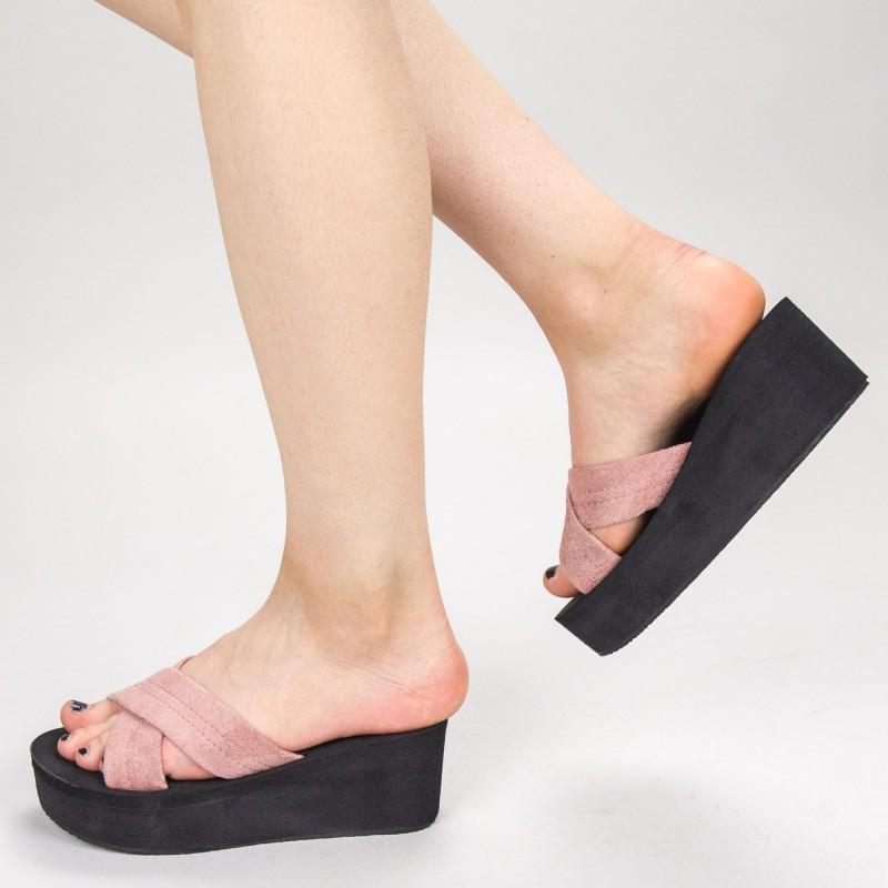 Papuci Dama cu Platforma NX3 Pink Mei
