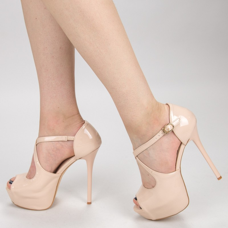 Sandale Dama cu Toc si Platforma OLGM5 Nude Mei