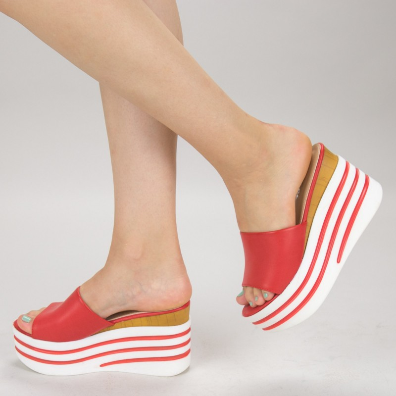 Papuci Dama cu Platforma LM280 Red Mei