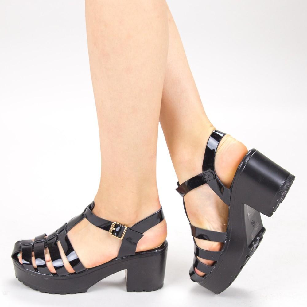 Sandale Dama cu Toc si Platforma 6-157 Black Primavera