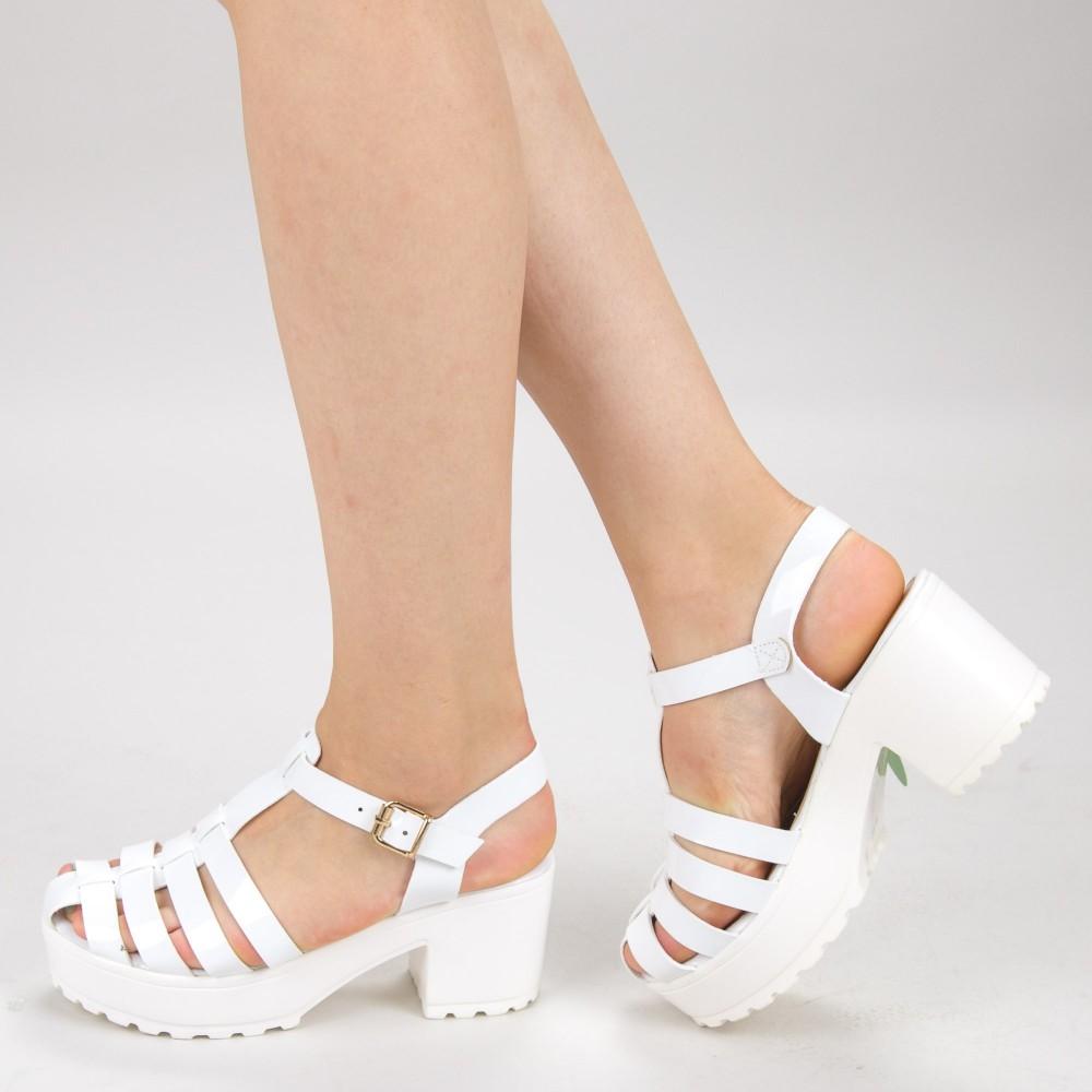 Sandale Dama cu Toc si Platforma 6-157 White Primavera