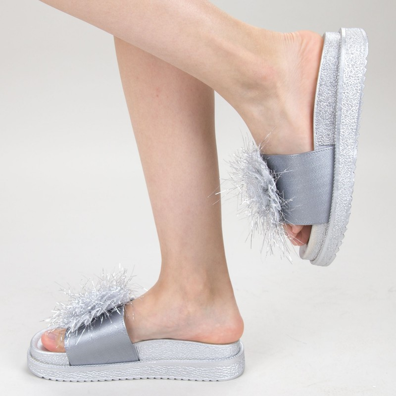 Papuci Dama cu Platforma HM-11 Silver Yiyi