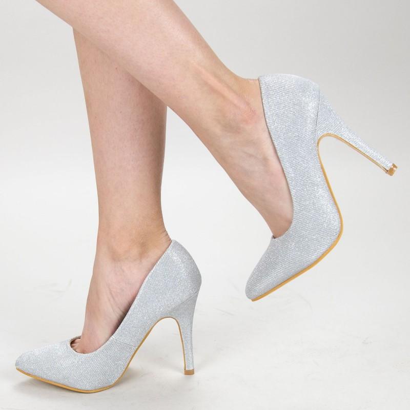 Pantofi cu Toc OL0143-1A Silver Mei