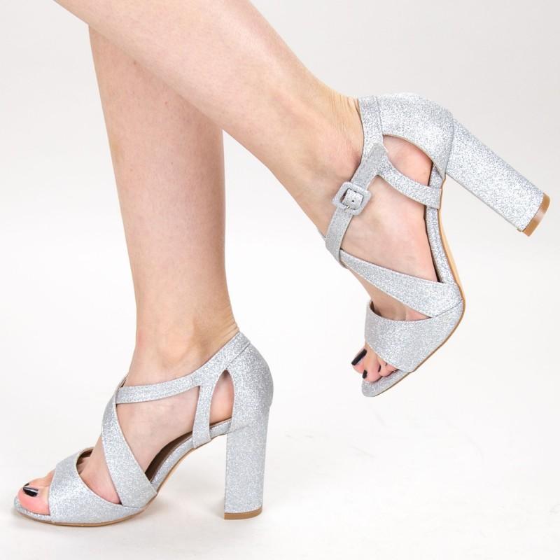 Sandale Dama cu Toc KV32A Silver Mei